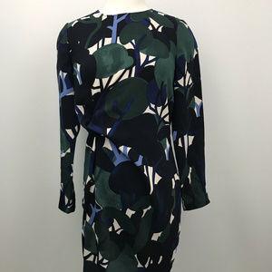 Ann Taylor Green Blue Tree Print Dress Long Sleeve